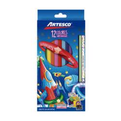 Artículos Escolares - Artesco Lápices de colores Triangulares - 12 unidades + lápiz