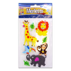 Artículos Escolares - Merletto Figuras de Foamy Adhesivas - Animales Salvajes