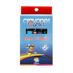 Artículos Escolares - Conki Crayones de Cera Triangulares Jumbo - 12 unidades