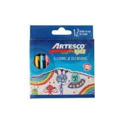 Artículos Escolares - Artesco Crayones de cera Delgados - 12 unidades