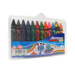 Artículos Escolares - Artesco Crayones de cera Estuche plástico- 12 unidades