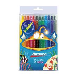Artículos Escolares - Artesco Crayones de cera Retráctil Twist up - 12 unidades