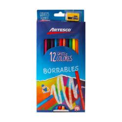 Artículos Escolares - Artesco Lápices de colores Triangulares Borrables - 12 unidades