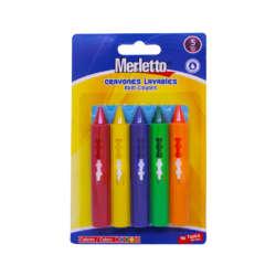 Artículos Escolares - Merletto Set de Crayones Lavables - 5 unidades